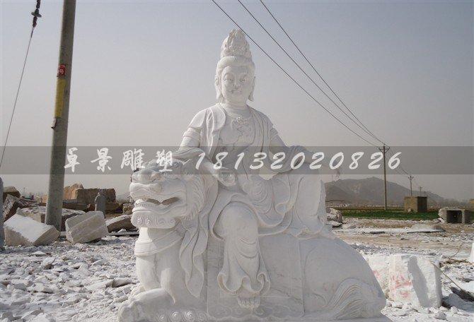 客户定制的文殊普贤菩萨石雕