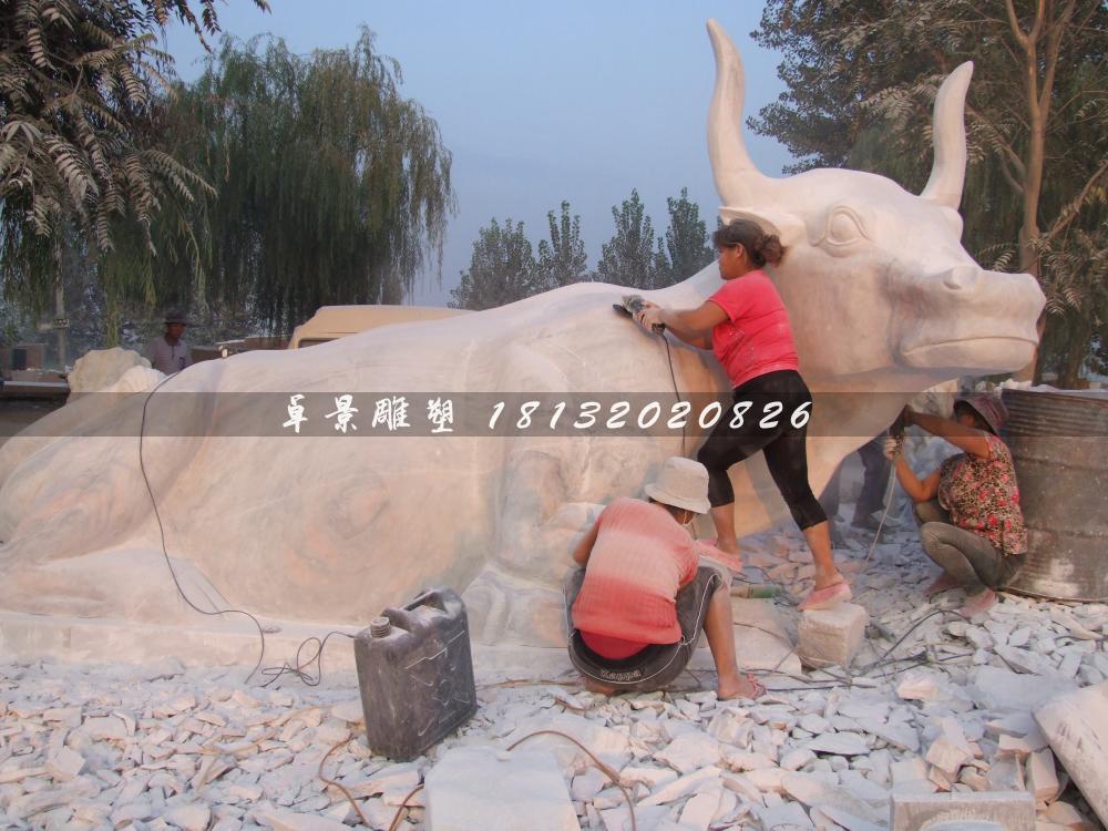 黑龙江齐齐哈尔的石头牛雕塑工程