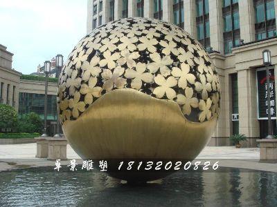 不锈钢球形雕塑,不锈钢抽象球雕塑