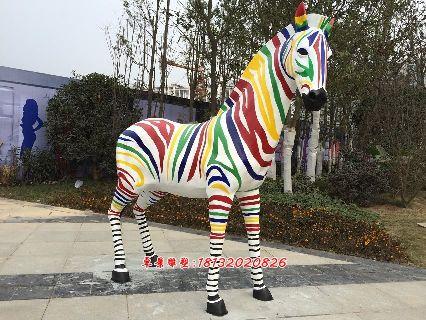 玻璃钢彩绘斑马彩色斑马雕塑