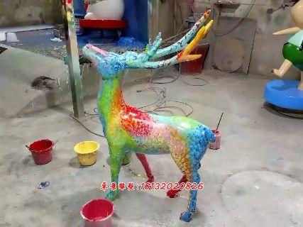 玻璃钢彩色小鹿雕塑,卡通小鹿雕塑