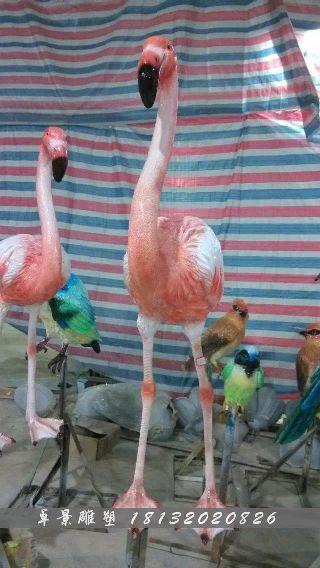玻璃钢火烈鸟雕塑,仿真火烈鸟雕塑