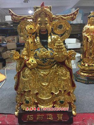 财神铜雕,铸铜财神雕塑