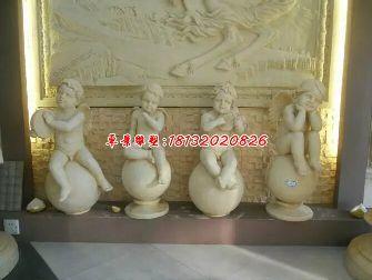 小天使石雕,汉白玉西方小孩雕塑