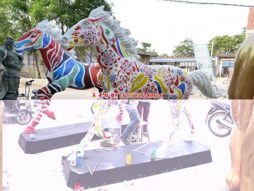 玻璃钢马雕塑,玻璃钢彩绘马雕塑