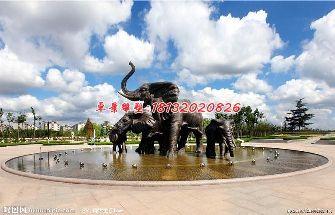 大象铜雕,公园大象喷泉雕塑