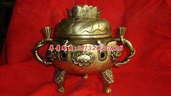 铜雕香炉,三足香炉,鎏金铜香炉