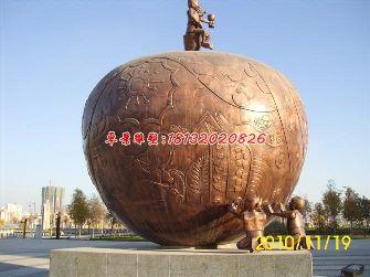 苹果铜雕,景观城市铜雕