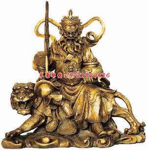 骑虎财神铜雕,武财神雕塑