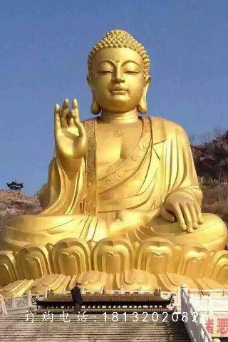 铜雕如来佛祖,黄铜佛像雕塑