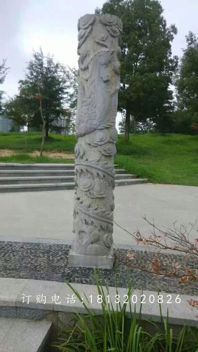 龙凤石柱雕塑,广场柱子石雕