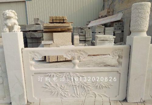 汉白玉石雕栏板,梅兰竹菊