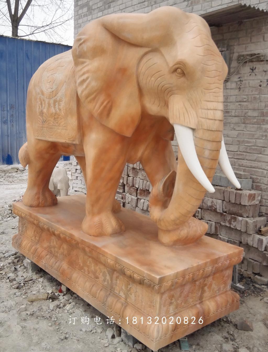 晚霞红大象石雕,动物石雕_河北卓景雕塑公司