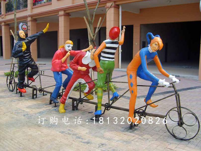 玻璃钢小丑骑车雕塑,玻璃钢卡通人物雕塑