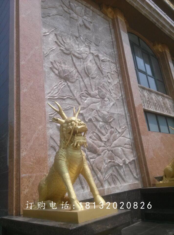 铜麒麟雕塑,鎏金铜麒麟雕塑