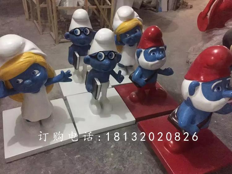 玻璃钢蓝精灵雕塑,卡通动画雕塑 (2)
