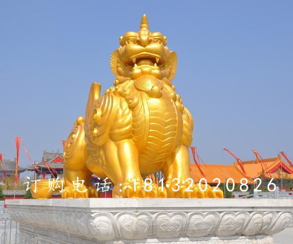 獨角獸銅雕,鎏金銅獨角獸