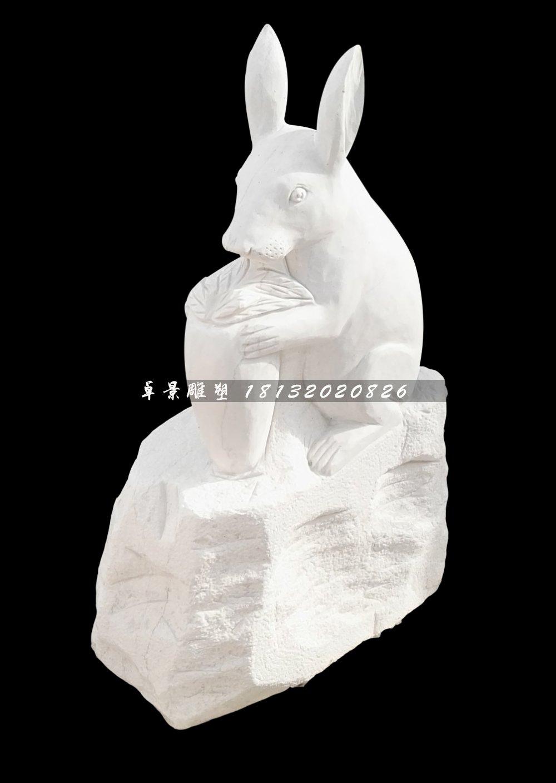 小兔小狗石雕,汉白玉十二生肖石雕