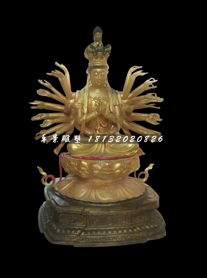 千手观音铜雕,坐式佛像雕塑