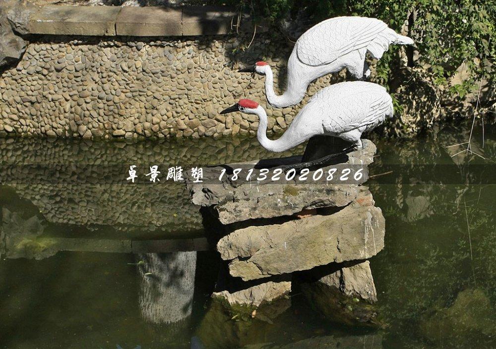 丹顶鹤石雕,公园动物石雕