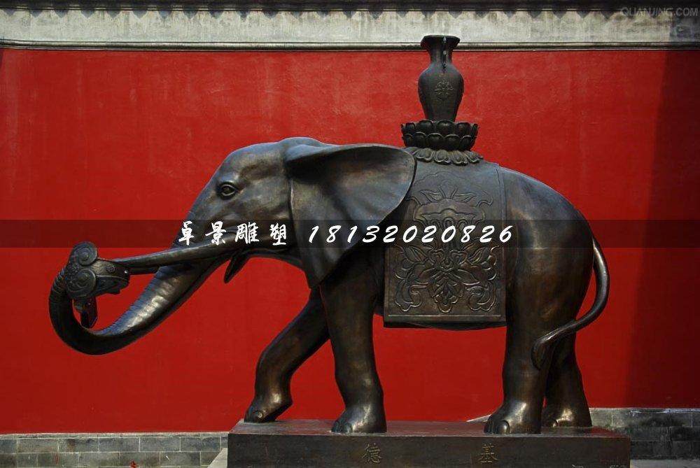 大象铜雕,象驮宝瓶铜雕