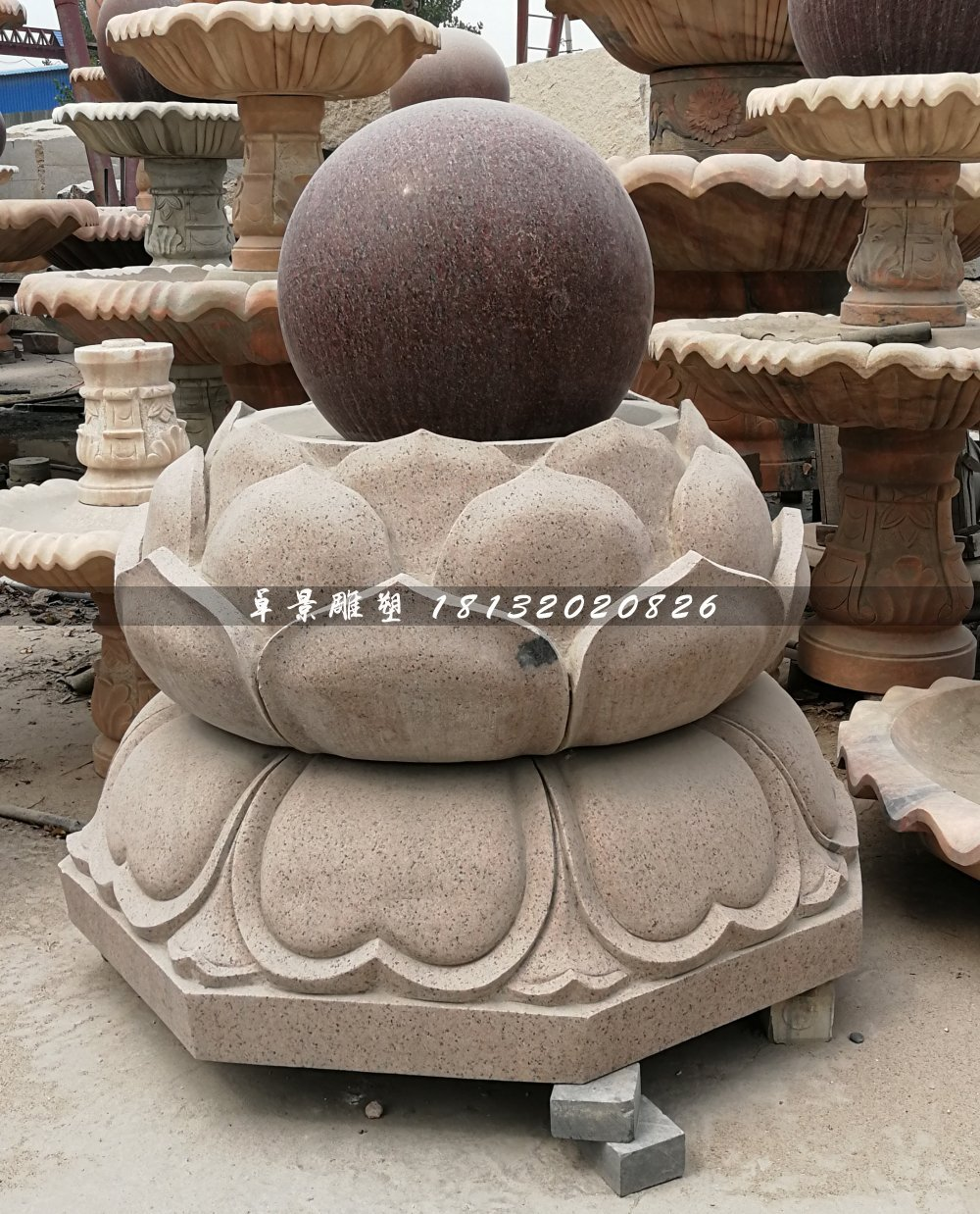 广场风水球石雕,莲花台风水球