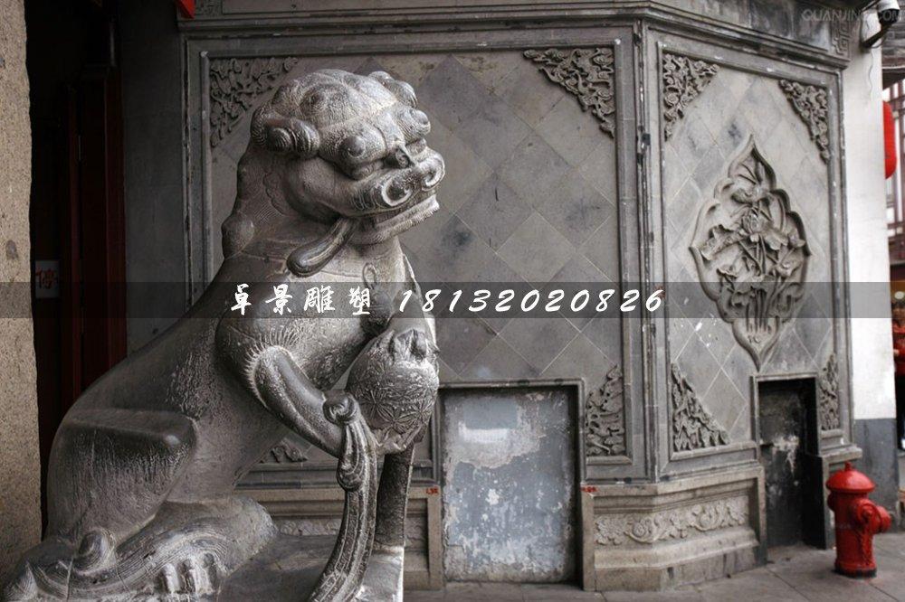 青石狮子雕塑,戏球狮石雕