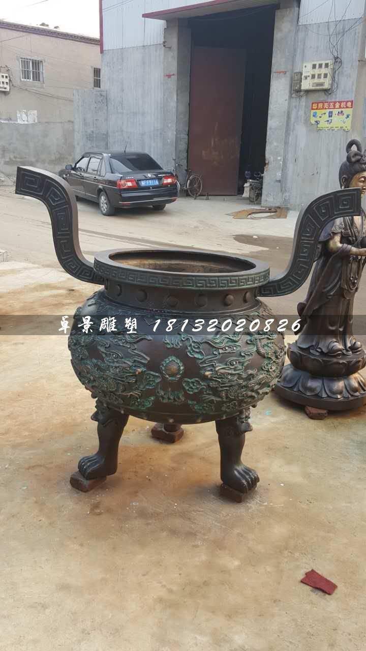 香炉雕塑,寺庙三足铜香炉