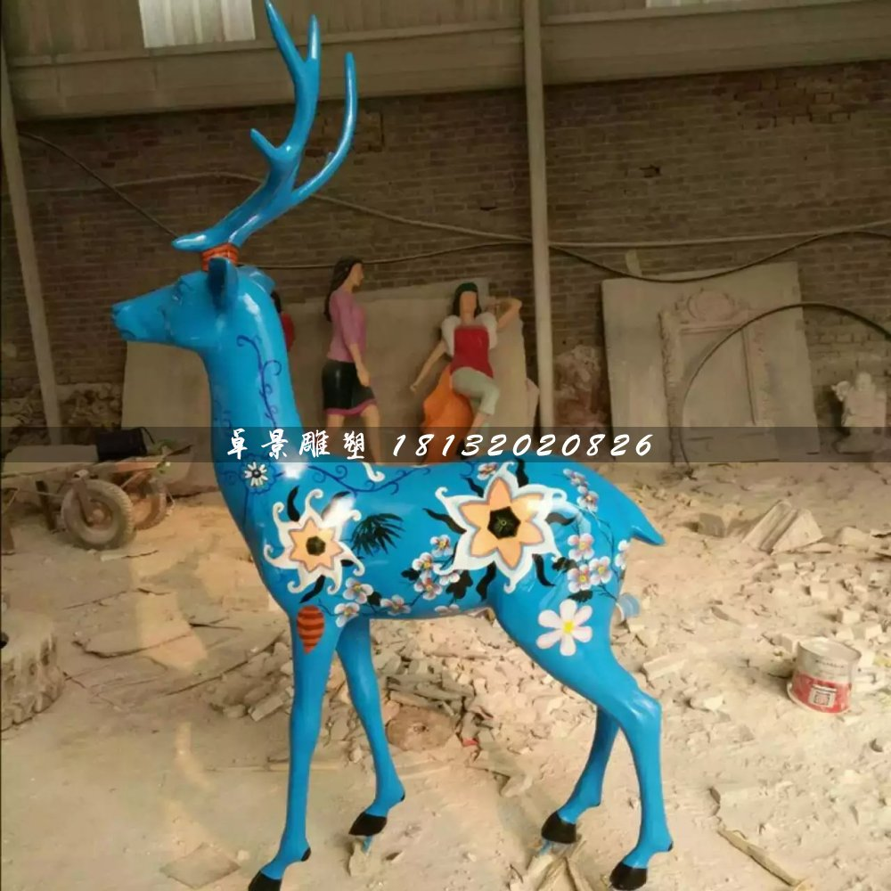 彩绘小鹿雕塑,玻璃钢动物雕塑