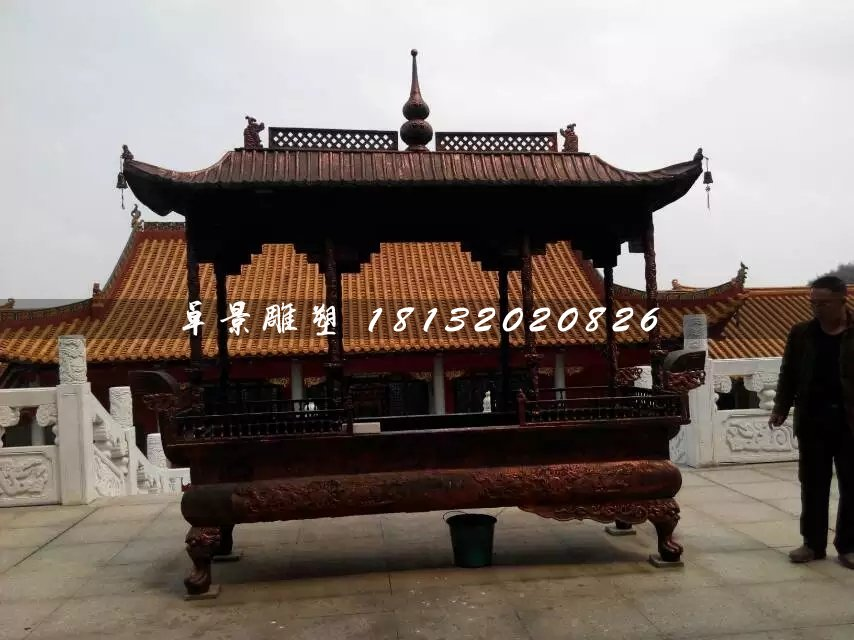 大型香炉铜雕,方形香炉铜雕