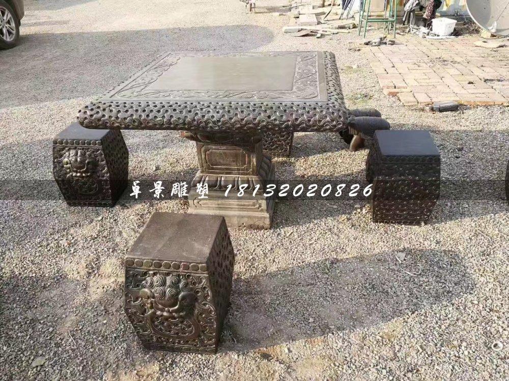 方桌方凳石雕,公园桌椅石雕