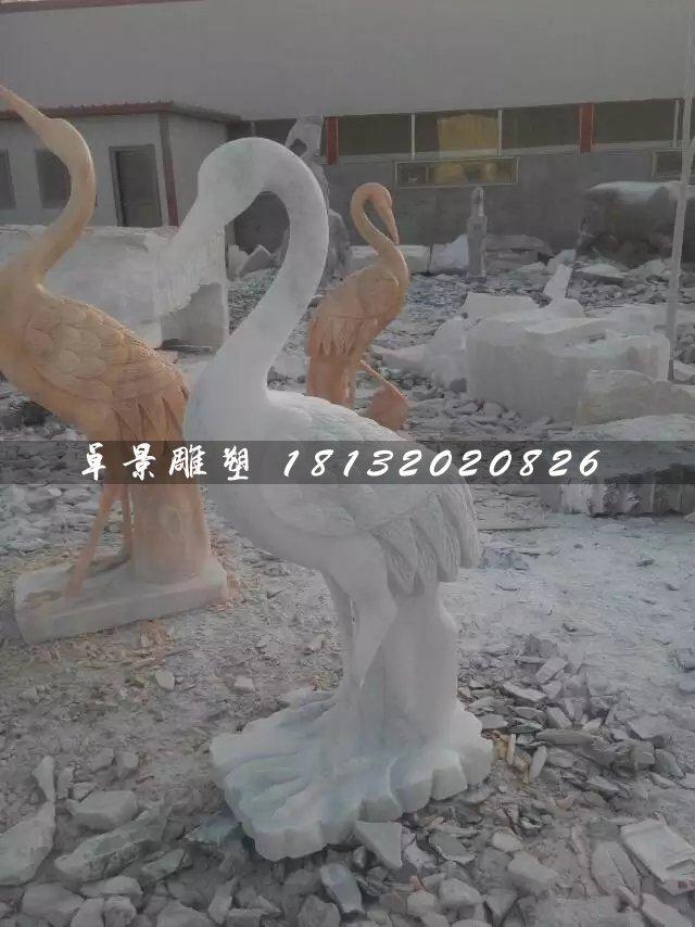 石雕仙鹤,大理石动物雕塑
