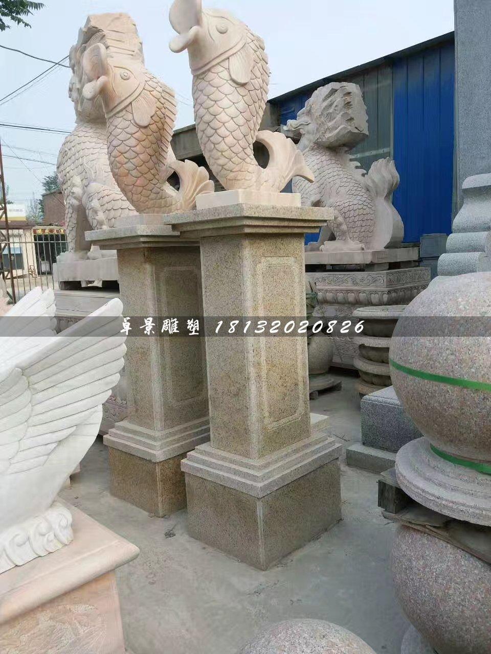 石雕鱼,晚霞红动物雕塑