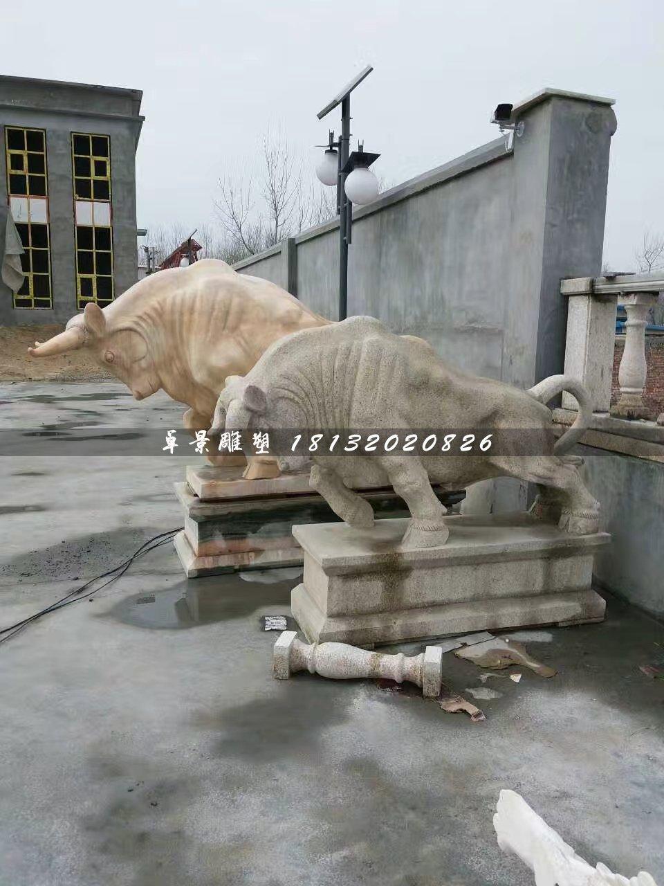 石雕牛,大理石开荒牛雕塑