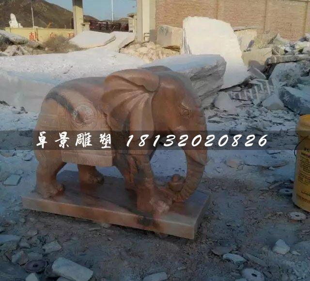 大象石雕,晚霞红小象雕塑