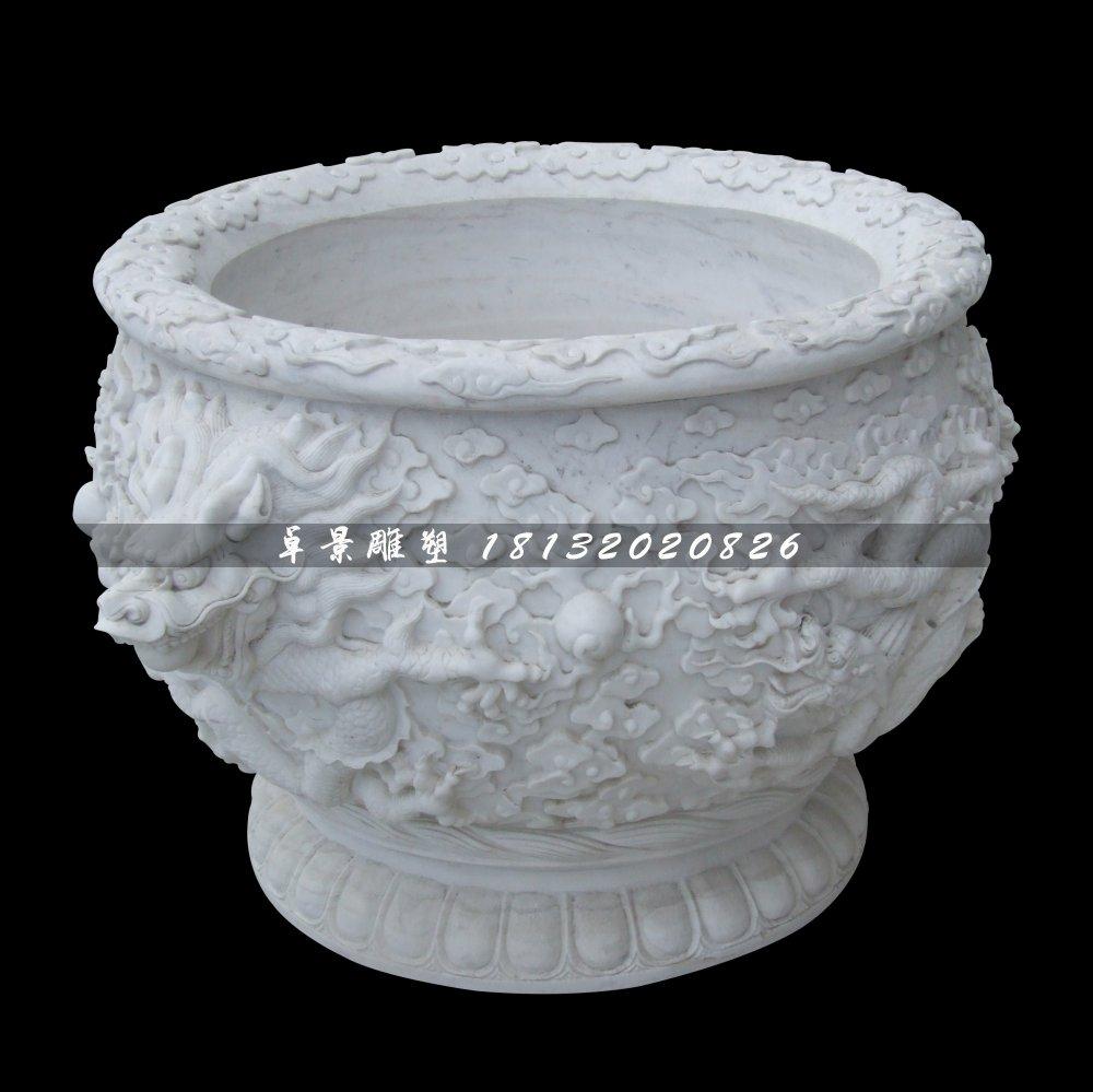 龙浮雕水缸,汉白玉水缸