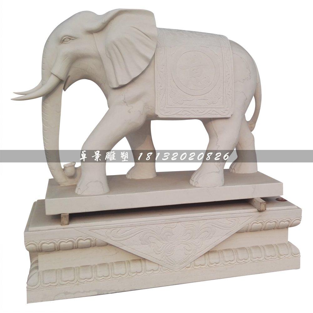 石头大象雕塑,汉白玉石雕