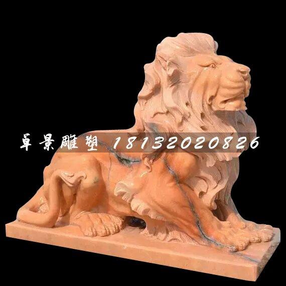 晚霞红石狮子雕塑,西洋狮石雕