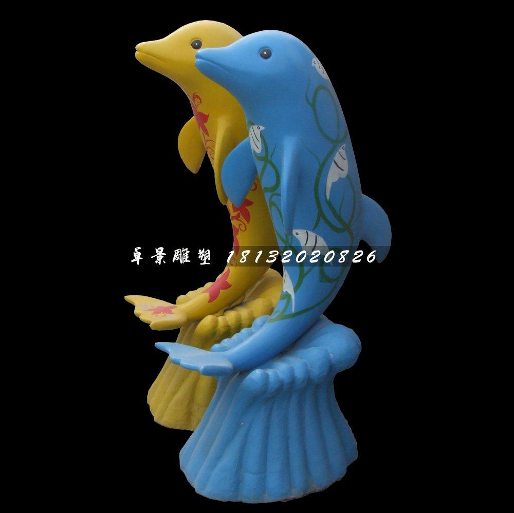 卡通海豚雕塑,玻璃钢彩绘动物