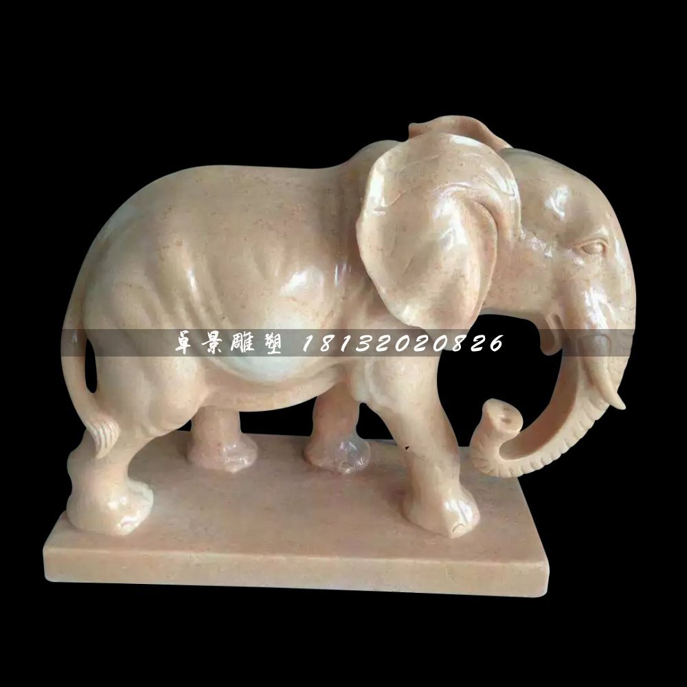 石雕大象,广场晚霞红大象