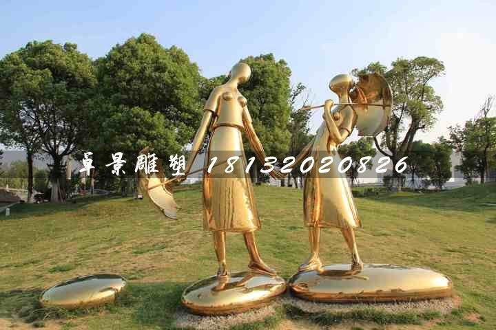 姐妹俩雕塑,不锈钢抽象人