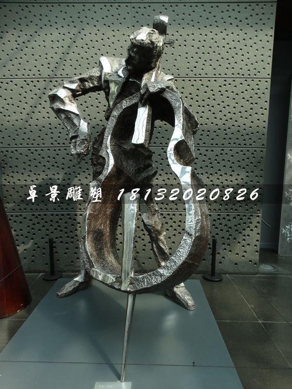 拉大提琴雕塑,不锈钢景观