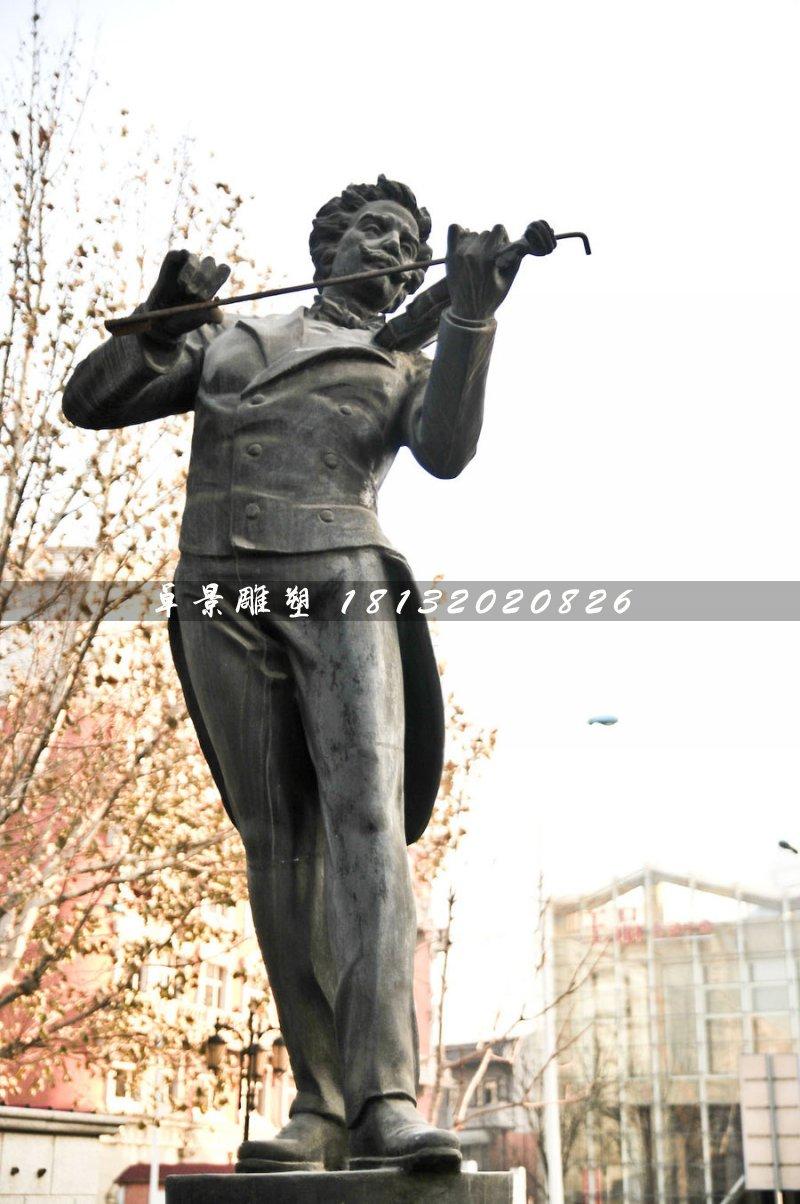 拉小提琴铜雕,西方人物铜