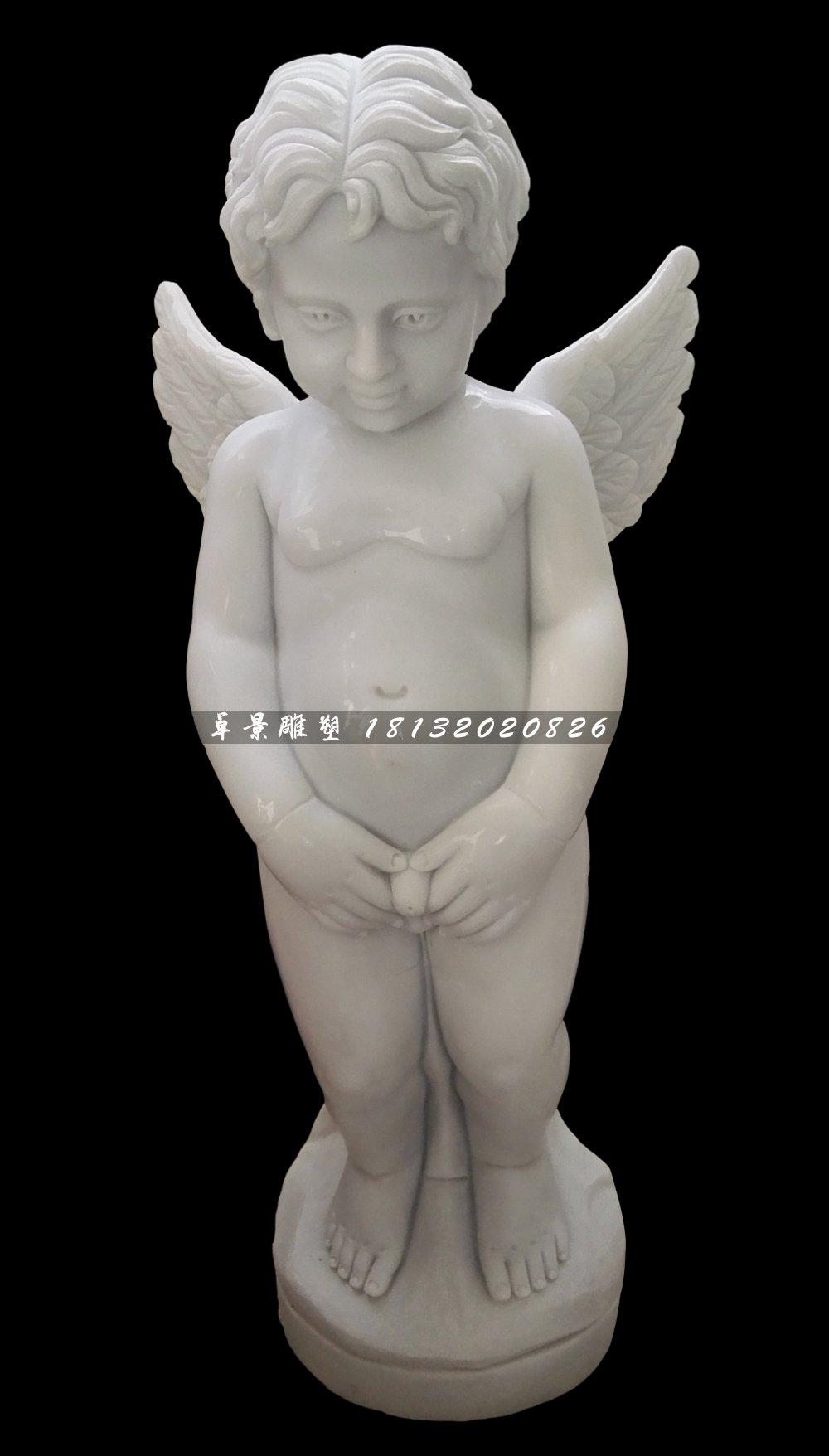 西方小天使石雕,汉白玉撒尿童子石雕