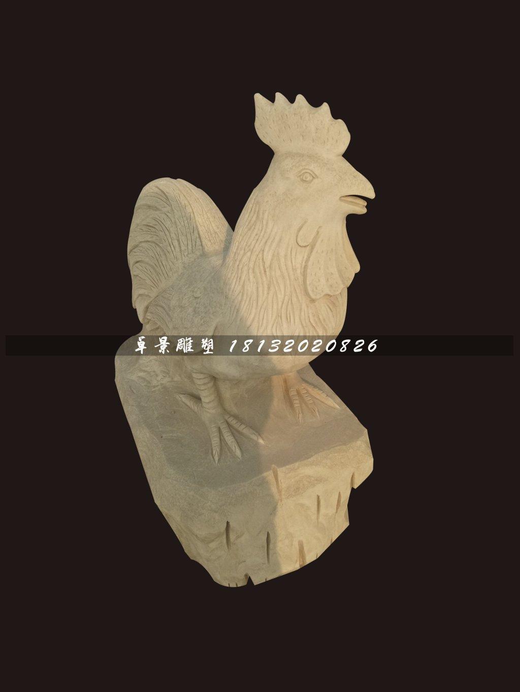 公雞石雕,大理石動物雕塑