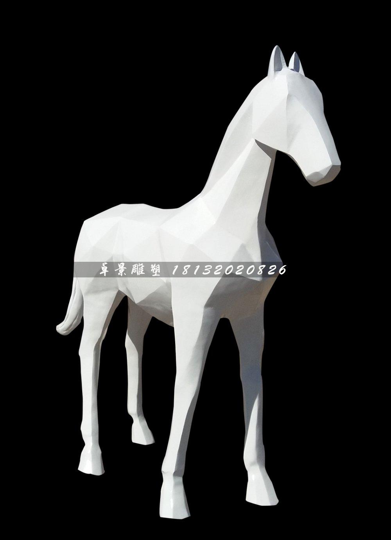 抽象馬雕塑,玻璃鋼白馬雕塑