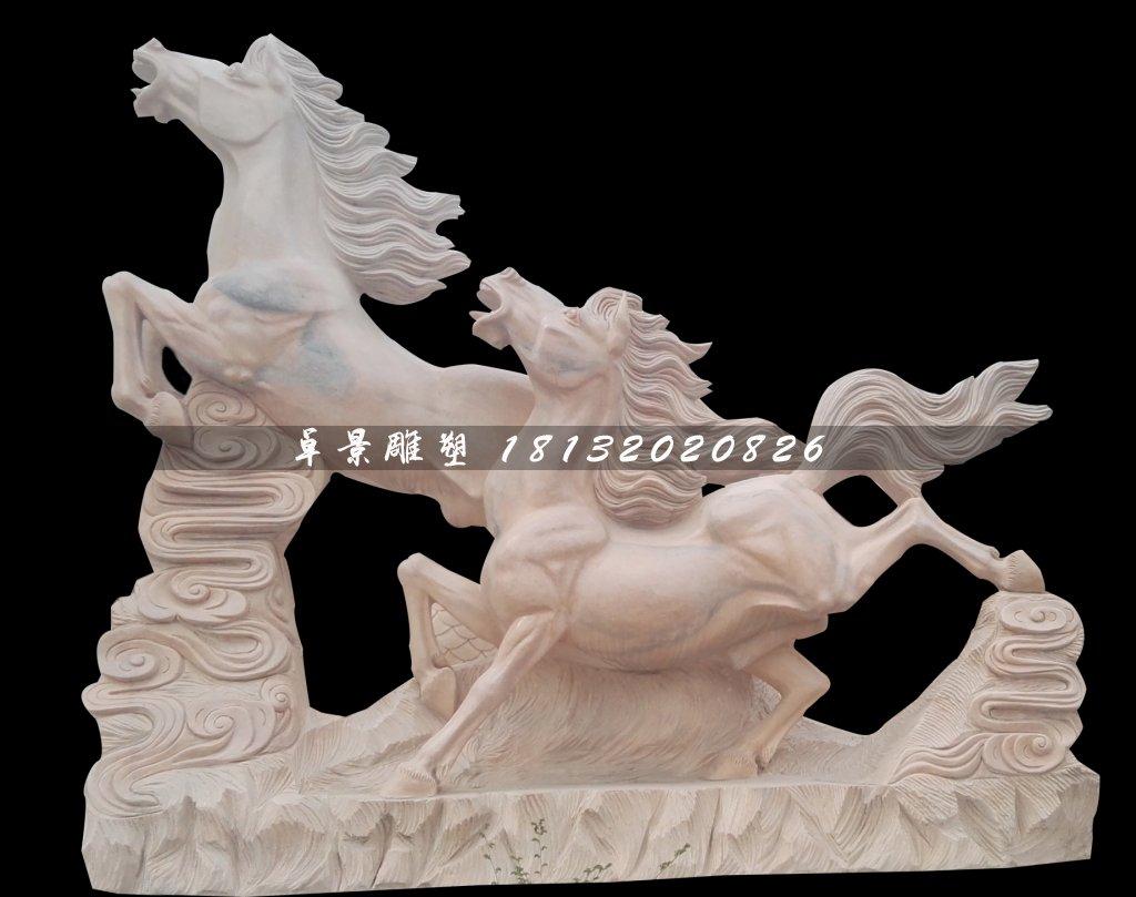 奔馬石雕,晚霞紅石雕馬,兩匹馬石雕