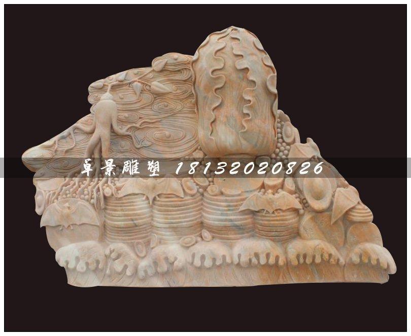 珍珠白菜石雕,招财白菜石雕