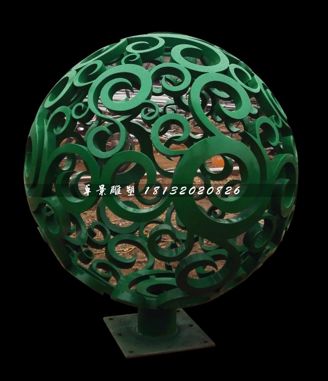 甘肃客户定制的不锈钢镂空球雕塑