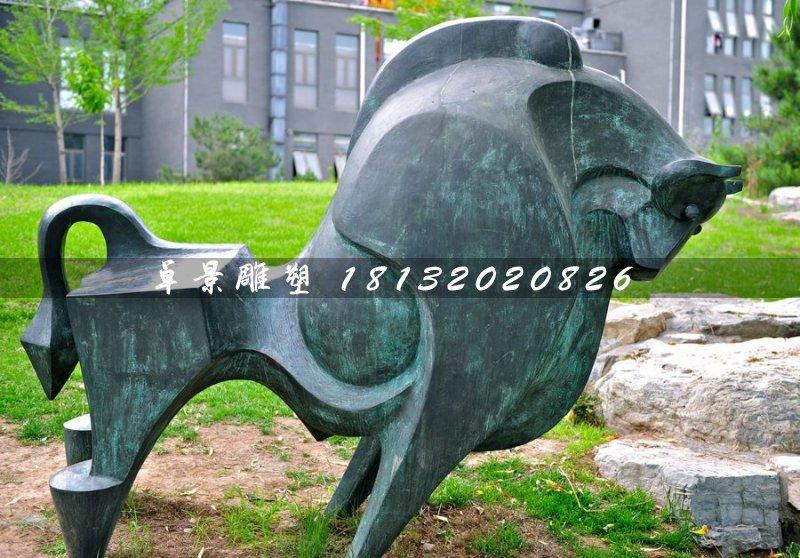 青铜牛,公园抽象动物雕塑